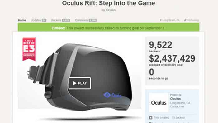 Palmer Luckey launched Oculus on Kicstarter