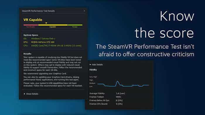 htc vive steamvr performance test