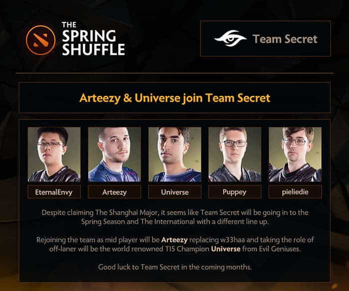 Team Secret Spring Shuffle