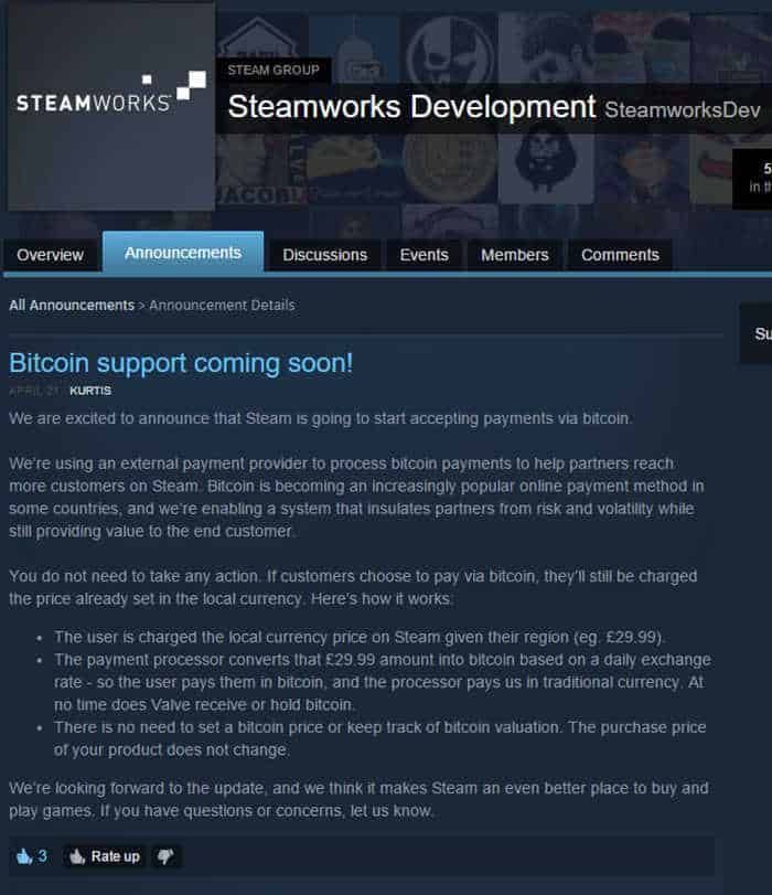 Bitcoin Steam Announcement