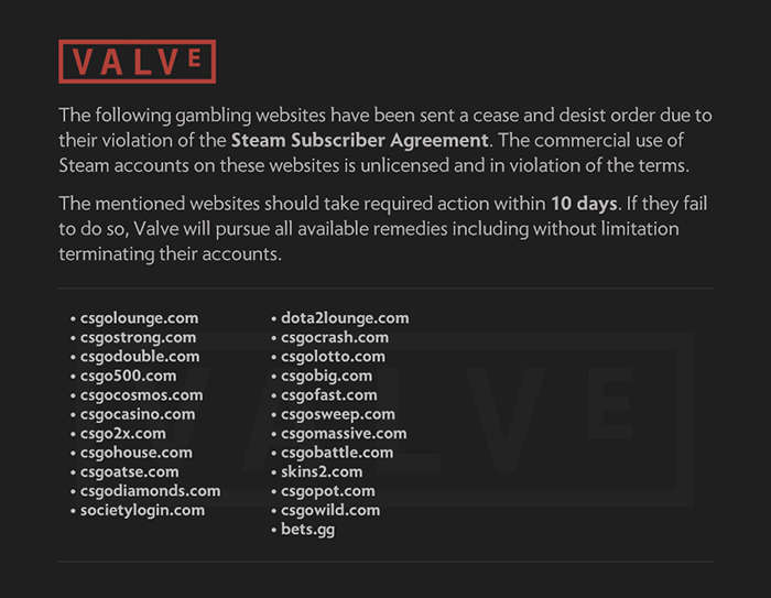 valve cease abd decist message