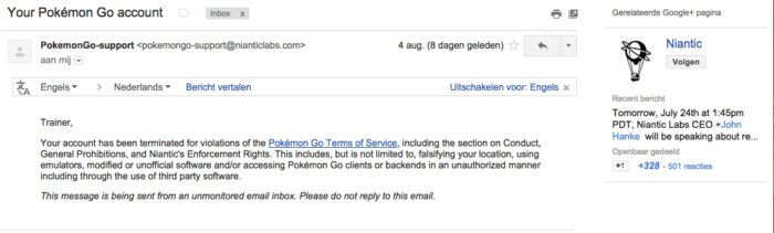 e-mail from Niantic Supports
