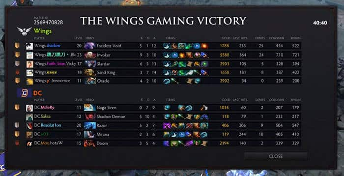 scoreboard game 2 the international 6 wings gaming digital chaos