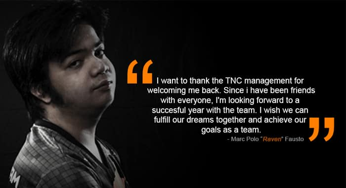 Raven back to TNC