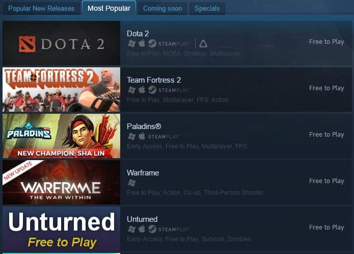 steam most popular free 2 play paladins