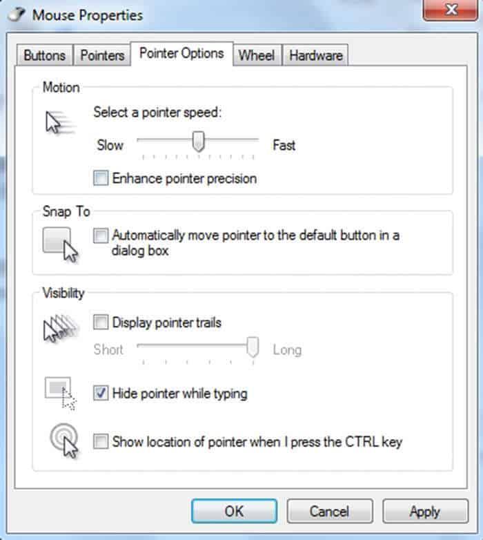 pengaturan enhance pointer precision