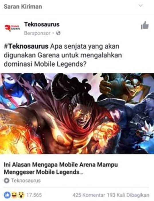 mobile legends hoax hak cipta teknosaurus facebook sponsored