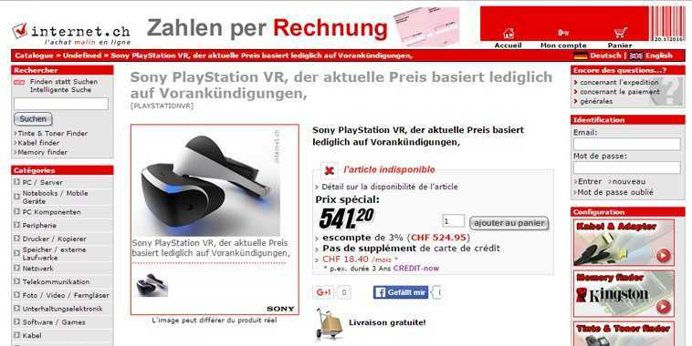 PlayStation VR on Internet.ch