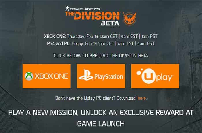 the-division-open-beta-schedule