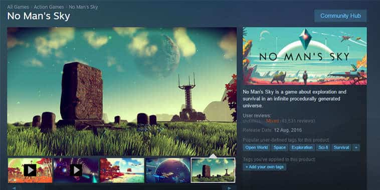 no mans sky steam store page