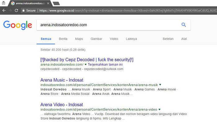website indosat diretas tampilan google search