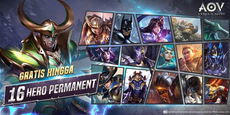 arena of valor event 16 hero gratis permanen