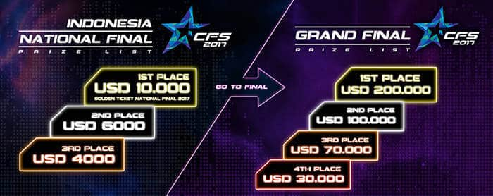 crossfire stars 2017 indonesia national finals detail hadiah