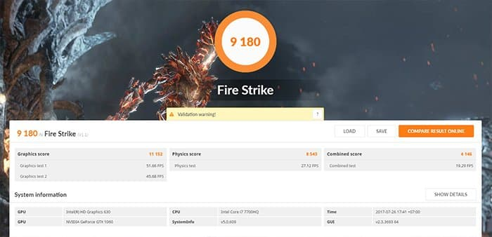 lenovo legion y720 review fire strike