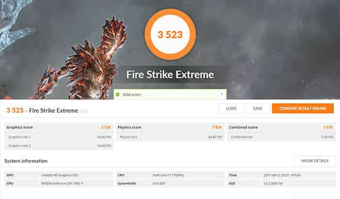dell inspiron 15 7000 gaming - fire strike extreme