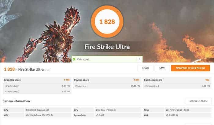 dell inspiron 15 7000 gaming - fire strike ultra