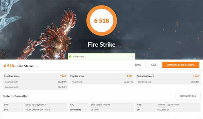 dell inspiron 15 7000 gaming - fire strike
