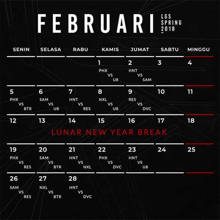 lgs spring 2018 jadwal februari 2018
