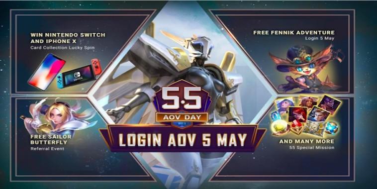 5 5 aov day login aov 5 mei 2019