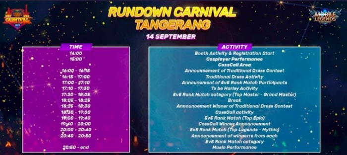 mobile legends bang bang carnival 2019 rundown tangerang