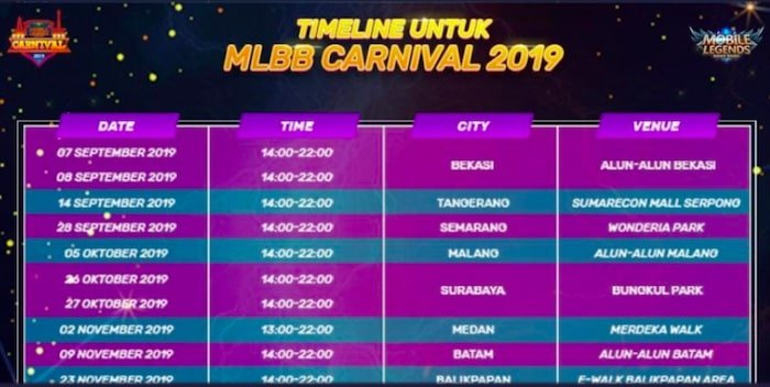 mobile legends bang bang carnival 2019 timeline