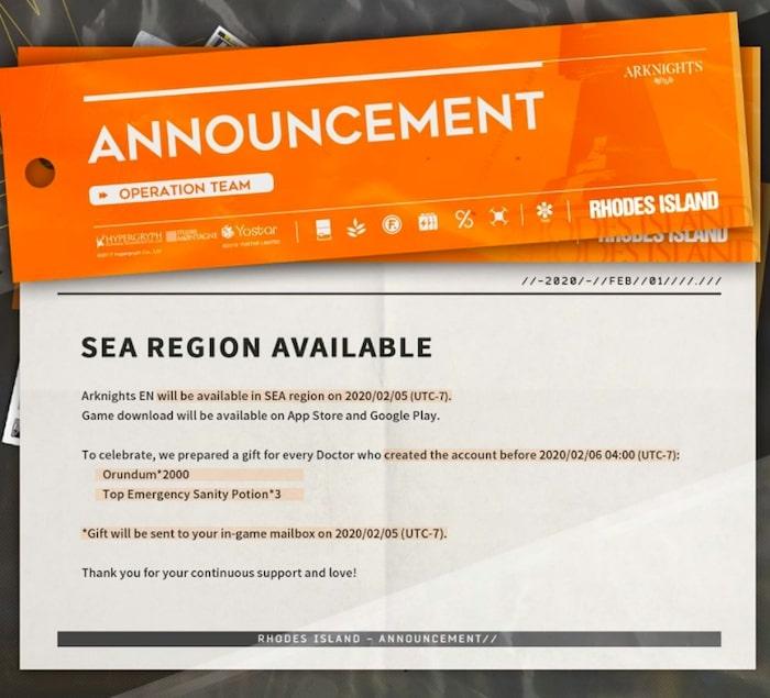 arknights notice released sea region